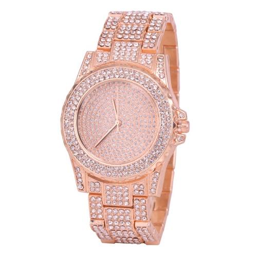 Las mujeres de acero inoxidable de lujo de la moda observan el reloj de pulsera ocasional de la mujer del cuarzo