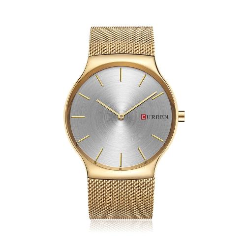 CURREN Relojes de pulsera de lujo de acero inoxidable para hombre Cuarzo resistente a la lluvia de 3ATM para hombre Reloj de pulsera