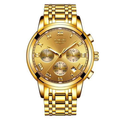 LIGE Relógios Relógios de Luxo Homens de aço inoxidável 3ATM Relógio Quartz Resistente à Água Relógios Relógios Masculinos Relogio Musculino