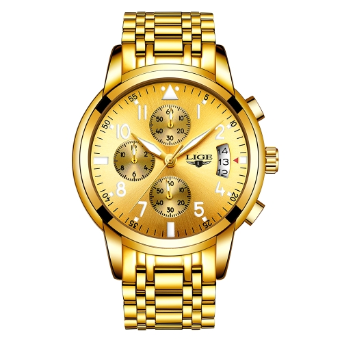 LIGE Fashion Luxury Stainless Steel Men Relojes