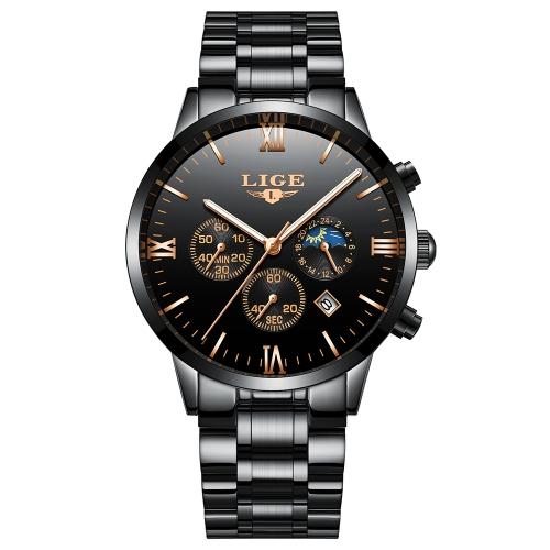 Relógios de aço inoxidável de moda LIGE
