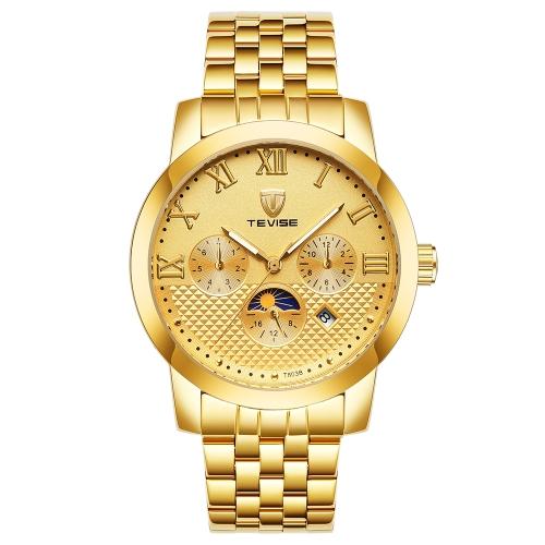 TEVISE Fashion Business Automático Relógios de homem 3ATM Aço resistente à água Aço Mecânico Relógio de pulso Luminous Relogio Musculino Moon Phase