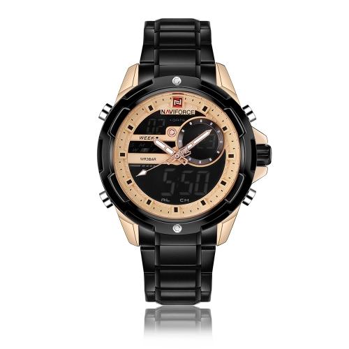 NAVIFORCE moda hombres de acero inoxidable relojes 3ATM resistente al agua reloj de pantalla dual digital luminoso hombre reloj de pulsera masculino Relogio Musculino
