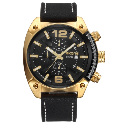 Skone Casual Sport Men Relojes Cuarzo Reloj Masculino 3ATM Resistente al Agua Reloj Luminoso Calendario Pantalla Tiempo