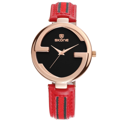 SKONE Fashion Quartz Genuine Leather Women Watch 3ATM Water-resistant Casual Wristwatch Woman Relogio Feminino
