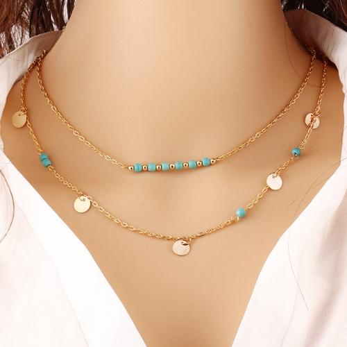 Moda w stylu Turkusowy łańcuch obojczyka Dwuwarstwowy naszyjnik z cekinami Biżuteria dla kobiet