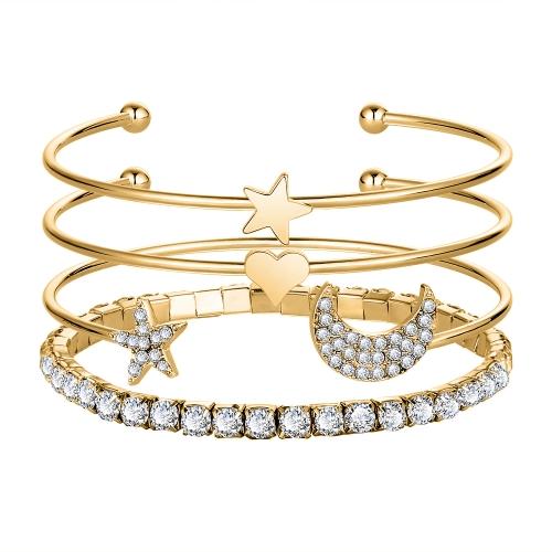 Fashion Simple Embedded Diamond Crystal Stars Bransoletka otwierająca księżyc 4 szt. Zestaw bransoletek
