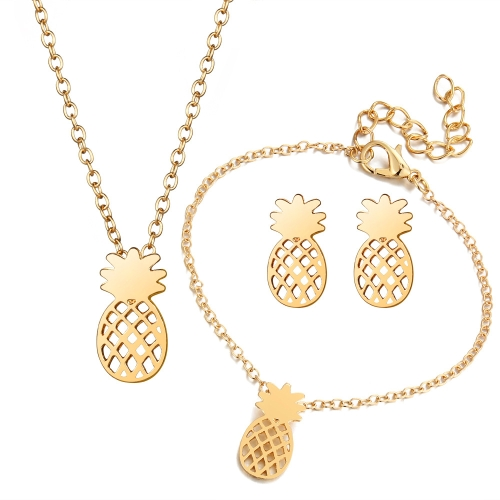 Conjunto de Jóias de moda Oco Abacaxi Colar Ear Studs Pulseira Combinação Liga Mulheres Jóias