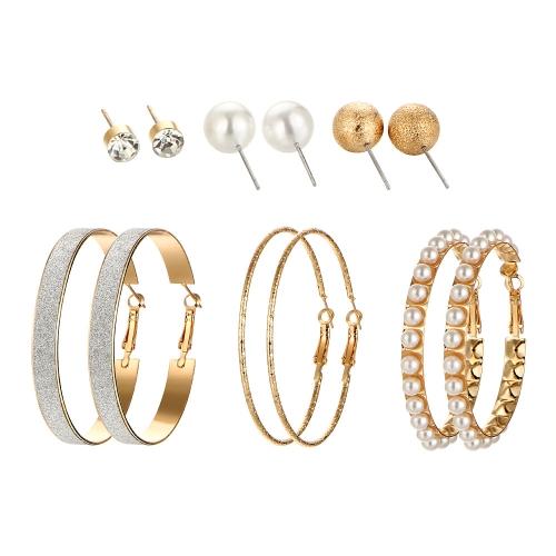 Mode Übertrieben 6 Paar Ohrstecker Set Perle Matt Großen Kreis Kristall Persönlichkeit Ohrringe Schmuck