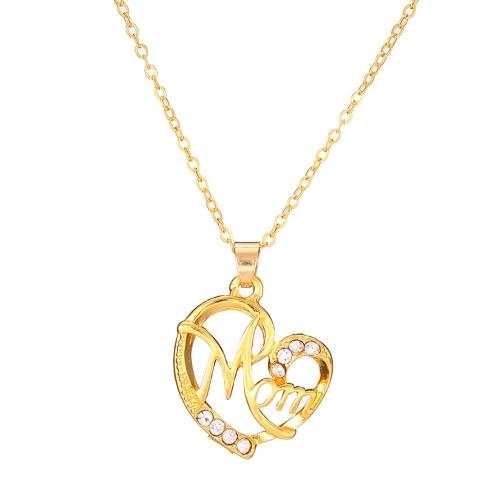 Moda Mãe Letras Em Forma De Coração Pingente Colar De Diamante Embutido para a Mãe Presente Da Jóia