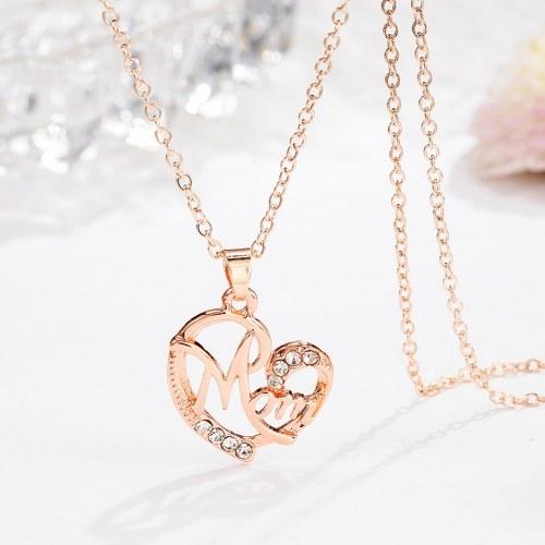 Mode Mutter Buchstaben herzförmigen Anhänger eingebettet Diamant Halskette für Mutter Schmuck Geschenk