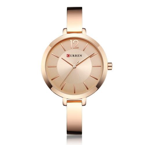 CURREN 9012女性の腕時計クォーツムーブメント腕時計女性のための簡単な原因のギフト