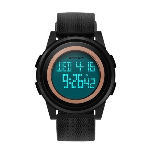 SANDA 337 Ultra-thin 9mm Sport Watch Men Electronic LED Digital Wrist Watches Waterproof Clock Calendar Watch for Male