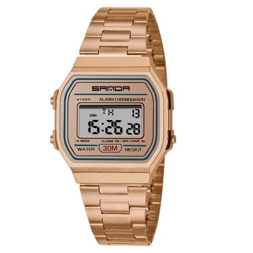 SANDA 405 ultra-mince 9mm montre de sport hommes électronique LED montres-bracelet numérique étanche horloge calendrier montre pour homme