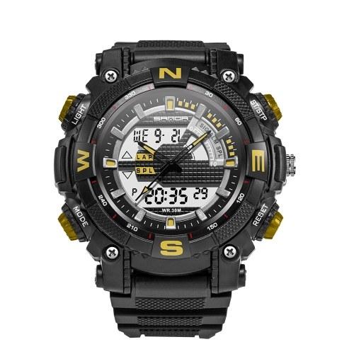 SANDA 743 Electronic Sport Watch Men Waterproof Watches Analog Digital LED Back Light Wristwatch for Male Clock