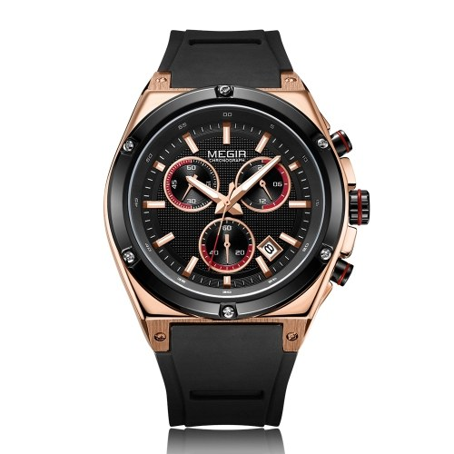 MEGIR 2073 Men Watch Quartz Sport Simple Wristwatch