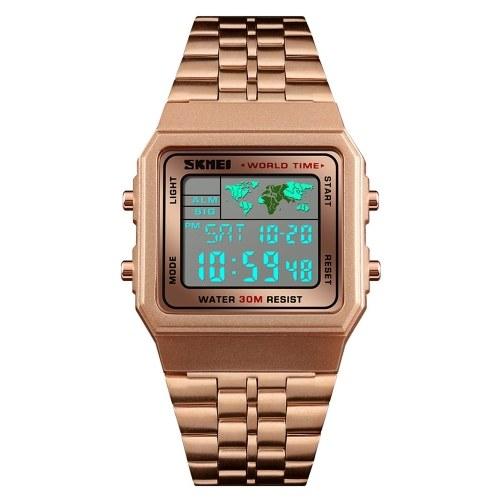 Orologio da uomo sportivo digitale LED Countdown tempo mondiale Acciaio inossidabile impermeabile da polso quadrato Orologi da polso multifunzione moda maschile Orologio SKMEI (oro rosa)