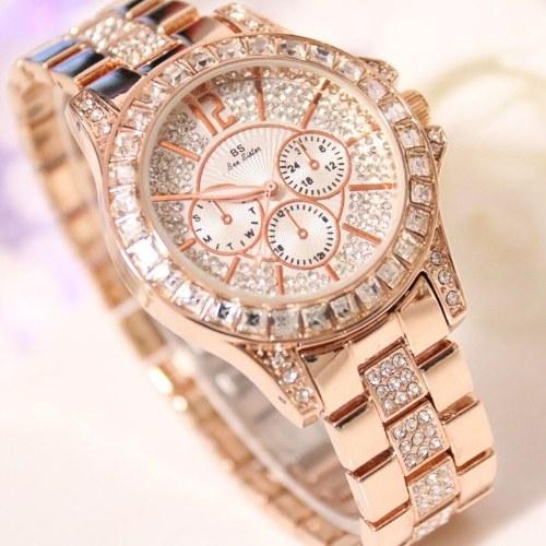 Стильные женские кварцевые часы Rhinestone Diamond Повседневные наручные часы для дамских наручных часов Lady Elegance