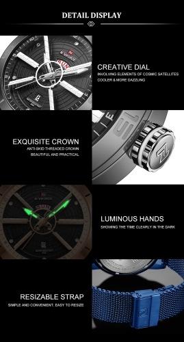 NAVIFORCE NF9155 Men Quartz Watch Luminous Fashion Casual Outdoor Sports Male Wristwatch Waterproof Watch Relogio Masculino with Gift Box