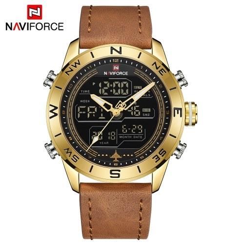 NAVIFORCE NF9144 Men Sport Watch Fashion Digital Army Military Leather Quartz Wristwatch Relogio  Masculino with Gift Box