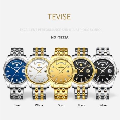 TEVISE T833A uomini d'affari orologio meccanico automatico orologio calendario display moda casual cinturino in acciaio 3ATM impermeabile luminoso mani maschile orologio da polso