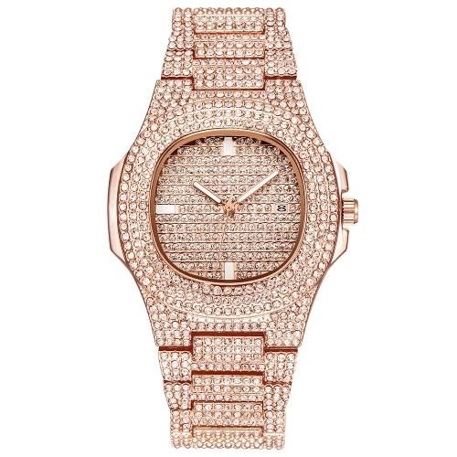 Homens De Negócios De Quartzo Relógio De Luxo Completa De Diamantes Relógios De Moda Calendário Liga Banda Relógio De Pulso