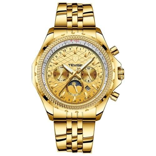 TEVISE T841B Moda uomo di marca orologio di lusso meccanico auto-vento automatico orologio da polso sportivo in pelle / acciaio inossidabile orologio opzionale relogio masculino per regalo