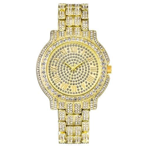 Women Fashion Diamond Alloy Band Quartz Watch Lady Luxury Classic Round Dial Analog Clock Wrist Watch