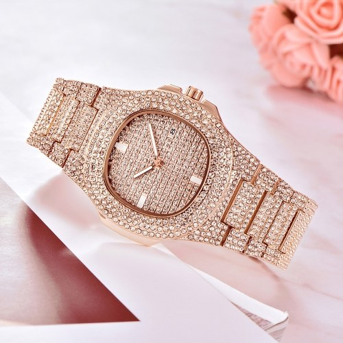 Men Business Quartz Watch Luxury Full Diamond Watches Fashion Calendar Alloy Band Wrist Watch
