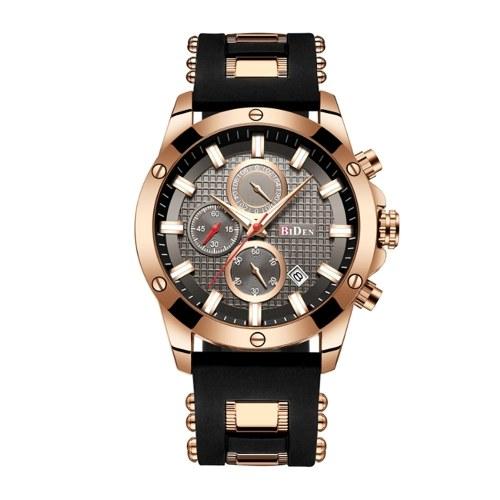 BIDEN Männer Edelstahl Band Uhren Casual Quarzuhr Multifunktionale Sport Kalender Armbanduhr