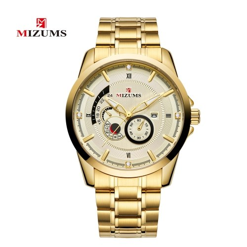 MIZUMS Men Fashion Alloy Case Stainless Steel Band Watch фото