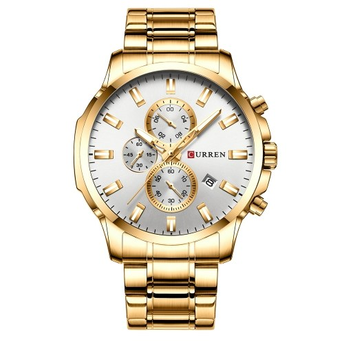 CURREN 8348 Quartz Man Wristwatch Watches with Stainless Steel Strap Band Watch for Male Date Calendar Indicator Three Sub-Dials Second Minute Microsecond Chronograph Waterproof Luminous Hands Wearable Accessories