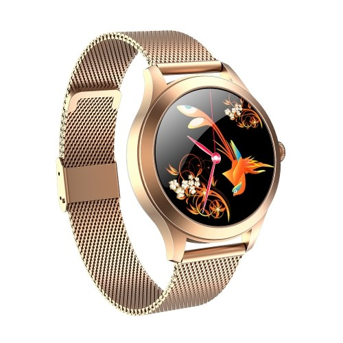 KINGWEAR Smart Watch Damen Sportuhr mit Blutdruck- und Herzfrequenzmesser IP68 Wasserdichter BT Fitness Tracker Kompatibel mit Android iOS Fitness Armband Smartwatch