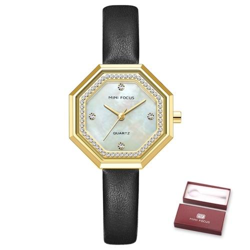 MINI FOCUS Женские кварцевые часы в восьмиугольном корпусе Модные женские часы с кожаным ремешком с кристаллами и бриллиантами Водонепроницаемые женские браслеты 3ATM для бизнеса и повседневной жизни (в коробке)