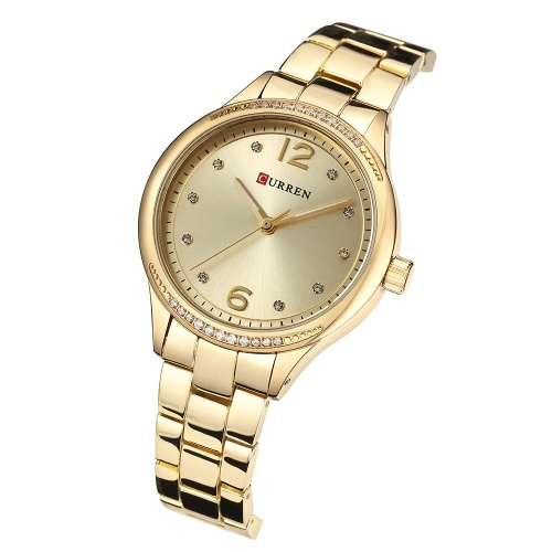 CURREN Women's Quartz Watch with Alloy Band Fashion Wristwatch 3ATM Watches