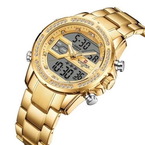 NAVIFORCE Quartz Digital Electronic Herrenuhr Dual Time Date Week Display Hintergrundbeleuchtung 3ATM Wasserdichte Luxusuhren für Männer Mode Männliches Armband für das tägliche Geschäft Business Herrengeschenke