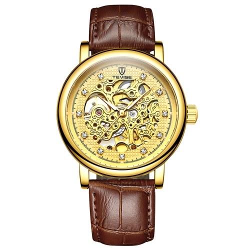 TEVISE Мужские автоматические механические часы Кожаный ремешок с алмазной шкалой Светящаяся указка 3ATM Водонепроницаемые мужские модные часы Изысканный деловой браслет Мужские часы