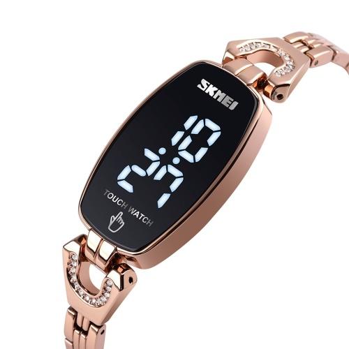 SKMEI femmes LED montre numérique femme mode montre-bracelet heure affichage de la Date 3ATM étanche dames montre avec bracelet en acier inoxydable