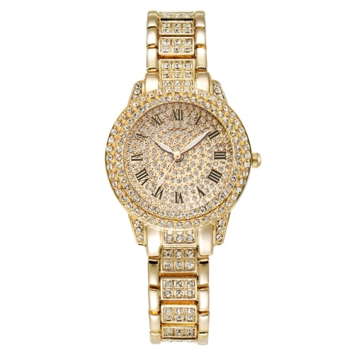 XR72208 Luxurious Bling Full-Crystal Decorated Women Wristwatch Retro Classic Watch with Roman Numerals Analog Quartz Wristband Stylish Dress Watch with Alloy Strap