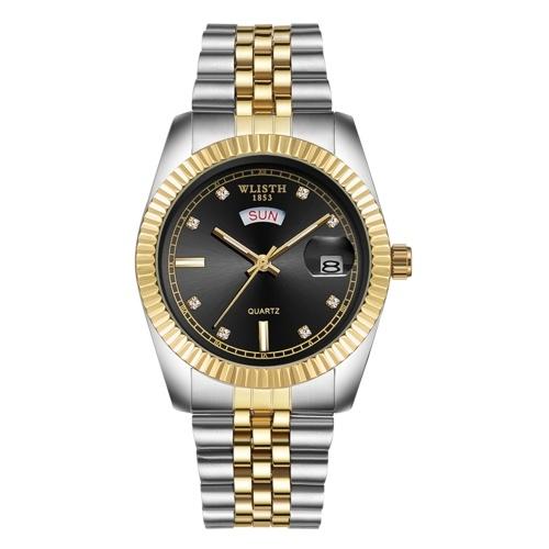 WLISTH S525 Classic Men Business Wrist Watch Stylish Analog Quartz Watch with Steel Strap Multifunctional Dress Watch with 30M Waterproof/Luminous/Week/Date Display