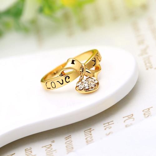 Zircão amor coração gota pingente carta te amo Bowknot anel 18k ouro chapeado moda jóias de casamento para as mulheres de menina