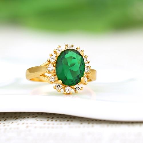 18K oro plateado verde gran circón anillo moda Retro Vintage joyería de la boda para mujer Nina