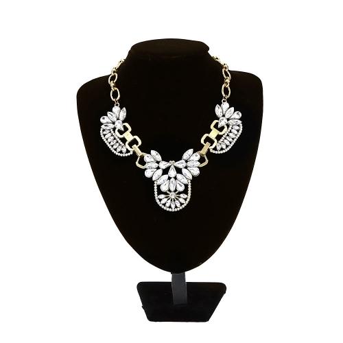 Moda vintage retro jasne kryształ klastra bańka naszyjnik płatek płatki rhinestone Bib Choker biżuteria kryształ biżuteria Drop akcesorium