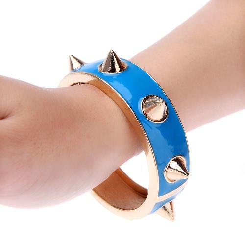 Estilo punk grande rebite Studded pulseira bracelete da liga