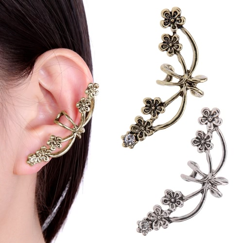 1Pcs New Punk Antique Retro Tone Metal Flower Ear Cuff Wrap Clip Earring