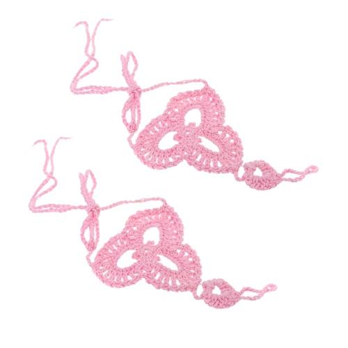 Algodón hilo Crochet pie cadena pulsera tobilleras patrones playa descalzo sandalia rosa