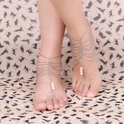 Modische Fuß Kette Armband Fußkettchen Pearl Multi Quaste Strand barfuß Sandale