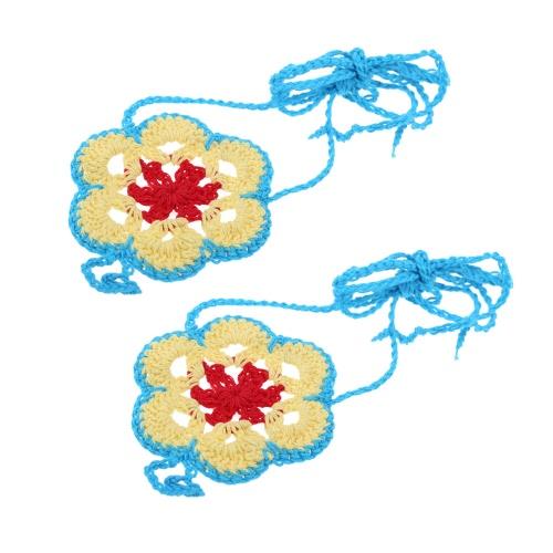 Algodão Thread Crochet pé corrente pulseira tornozeleira colorida flor descalço sandália de praia # 2