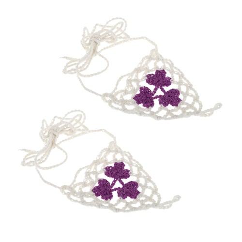 Algodón hilo Crochet pie cadena pulsera tobilleras arce hoja triángulo playa sandalia descalzos púrpura