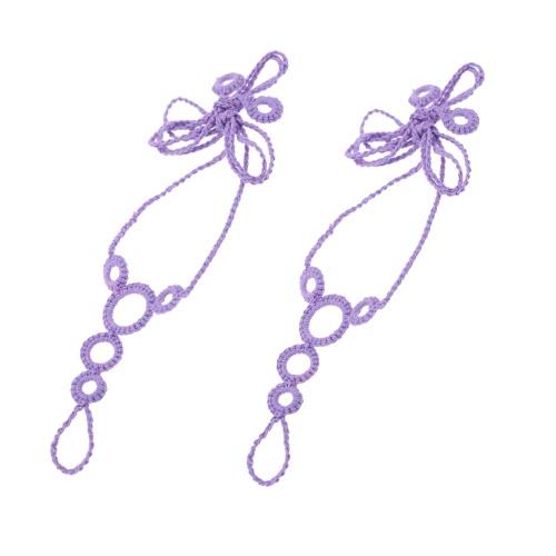 Algodón hilo Crochet pie cadena pulsera tobillera playa sandalia descalzos con círculos decorativos morado